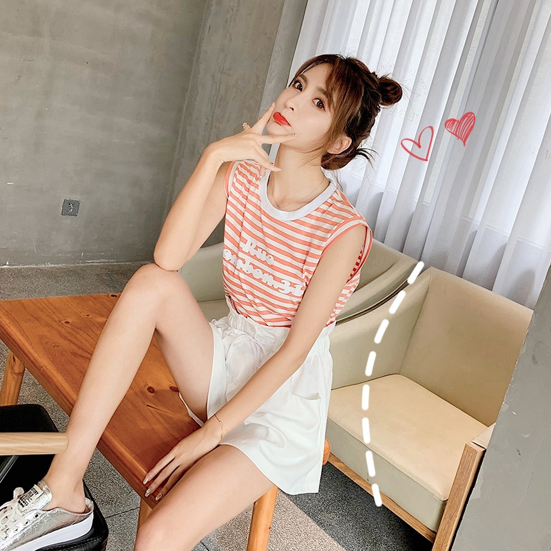 Short-height Sleeveless Stripes T-shirt Suit Women's New Style Summer Wear Western Style By Age Wide-Leg Shorts Two-Piece Set