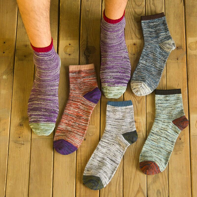 5 Pairs Men Socks Autumn Winter Cotton Casual Patchwork Ethnic Breathable Hombre Short Sock Business Male Crew Socks New Meias