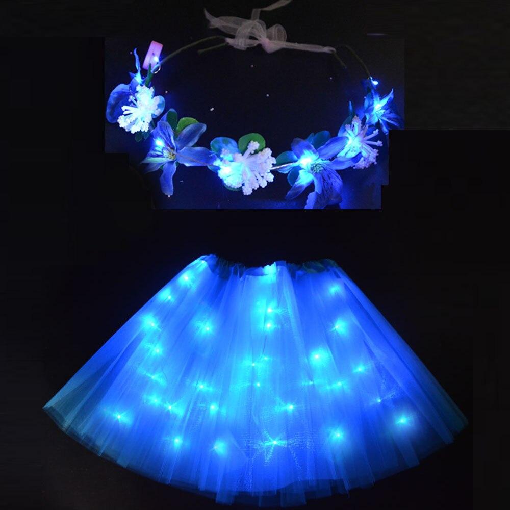 Mulher menina luz led tutu brilho saia flor grinalda guirlanda headbands presente néon festa roupas miniskirt aniversário decoração do casamento