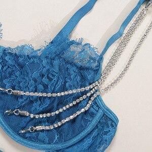 Image 5 - Süper seksi iç çamaşırı ultra ince şeffaf sutyen seti kristal zincir dantel sutyen seti 3 parça sutyen + maşa + jartiyer seksi iç çamaşırı