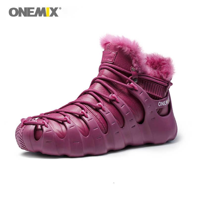 Onemix kışlık botlar kırmızı ayakkabılar Trekking ayakkabı erkekler Anti kayma ayakkabı kadınlar için açık Trekking ayakkabı Sneakers kış sıcak tutmak