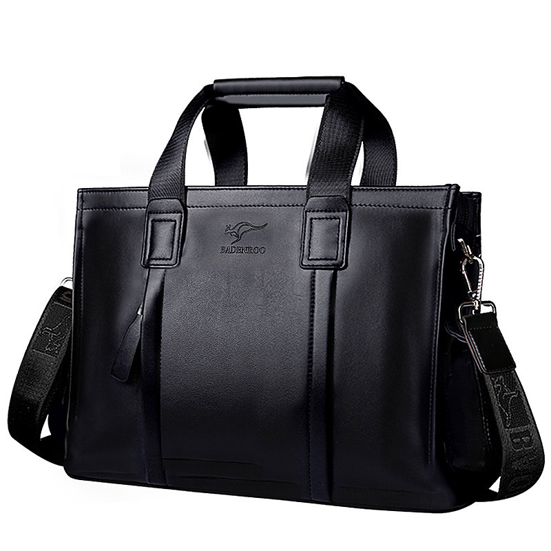 Men's Briefcase Tote Computer-Bag Business 14-Inch Fashion Luxury New Boy Male Split