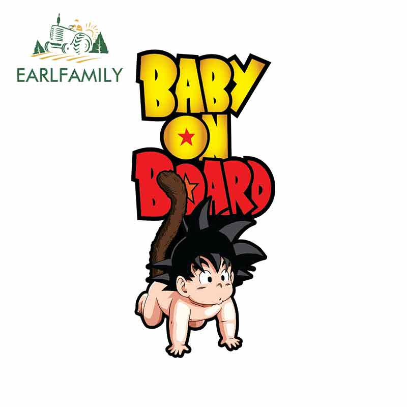 EARLFAMILY 13cm X 6.1cm Car Stickers Baby On Board FOR Dragonball Goku Decals Cartoon Car Styling JDM Car Accessories