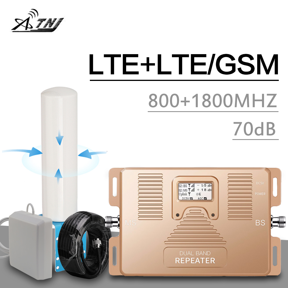 4g Signal Booster 4g LTE 800 1800 Cellular Signal Amplifier Mobile Phone Repeater 4g Internet Amplifier Omni Directional Antenna