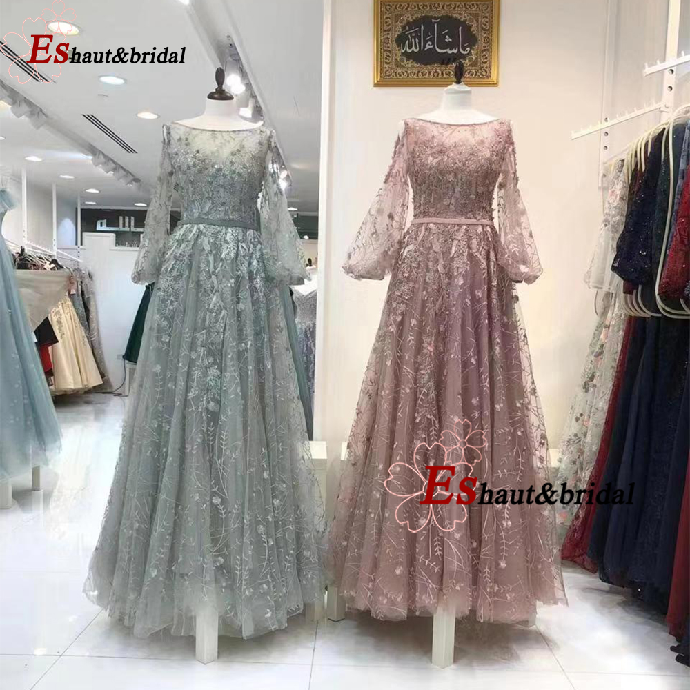 Dubai Arabic Evening Dress For Women 2019 Full Lace Long Flare Sleeves Aline O-neck 3D Flower Formal Party Gowns