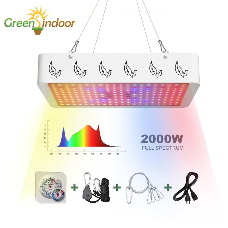 Indoor LED 1000W 2000W Full Spectrum Led Grow Light Phyto Lamp For Plant Grow Tent Box Lamp For Plant Flowers With Thermometer