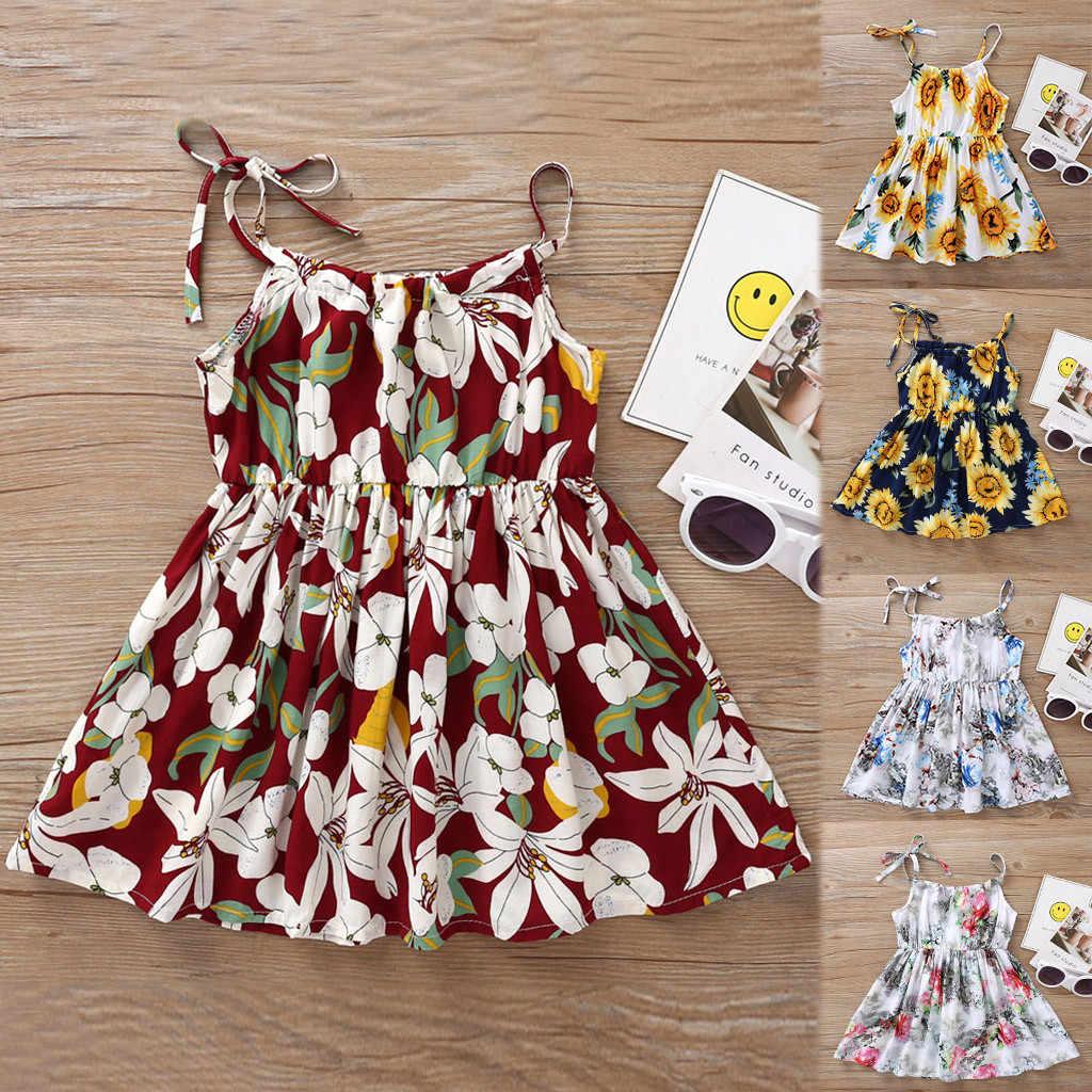 2019 bebé niñas princesa Floral girasol playa fiesta Casual vestido ropa princesa vestido verano playa vestido