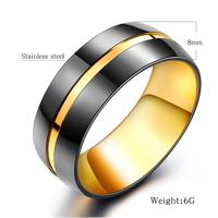 HT 11 Trendy Tungsten Steel Electroplate Black Gold 6mm Lovers Ring For Men Women Wedding Engagement Titanium Exquisite Jewelry