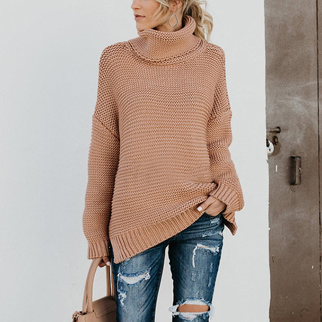 New Warm Solid Loose Thick High Neck Pullover