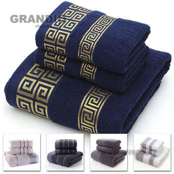 100 zestaw ręczników bawełnianych łazienka wzór geometryczny ręcznik dla dorosłych ręczniki do twarzy ręcznik frotte Travel ręcznik sportowy tanie i dobre opinie 1pc bath towel and 2pcs face towels approx 70x140 (cm) approx 400 (g) approx 35x75 (cm) approx 100 (g) cpe zipper carry bag