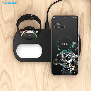 3 In 1 10W Fast Wireless Charger For Samsung S20 S10 Note 10 9 Galaxy Watch Active/Galaxy Buds Qi Wireless Charging Dock Station