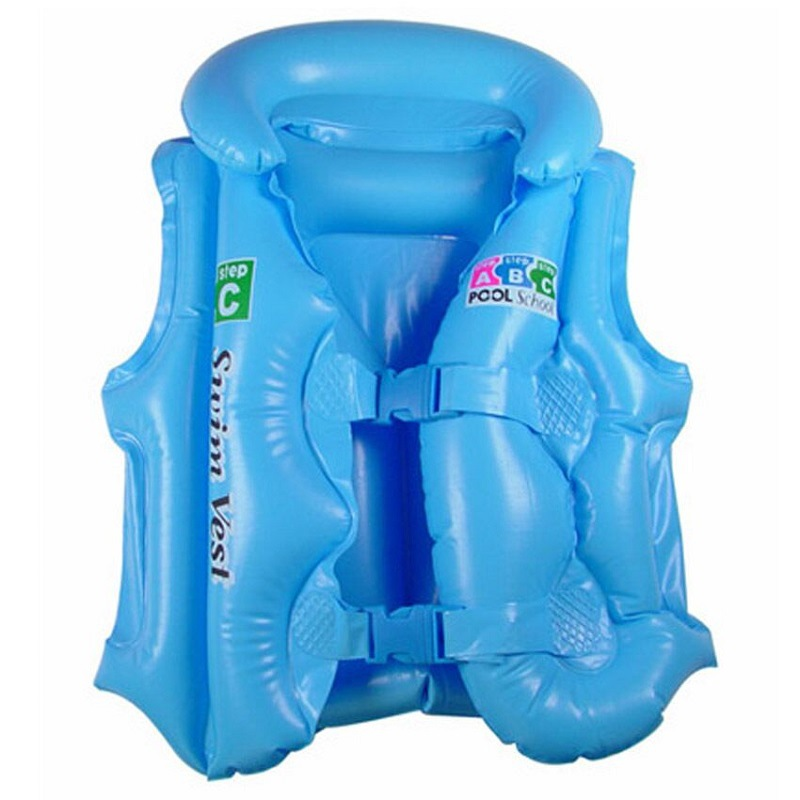 Factory Direct Selling Blue Orange Thick Inflatable CHILDREN'S Swimwear, PVC Thick Blowing Learn Swimming Clothes Wholesale