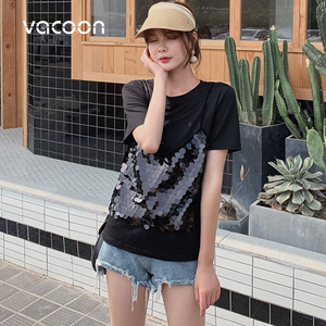 Image 4 - New Female Fashion Summer Tops Women Fake 2 Pieces Casual Sequins T Shirt Short Sleeve Top Tee