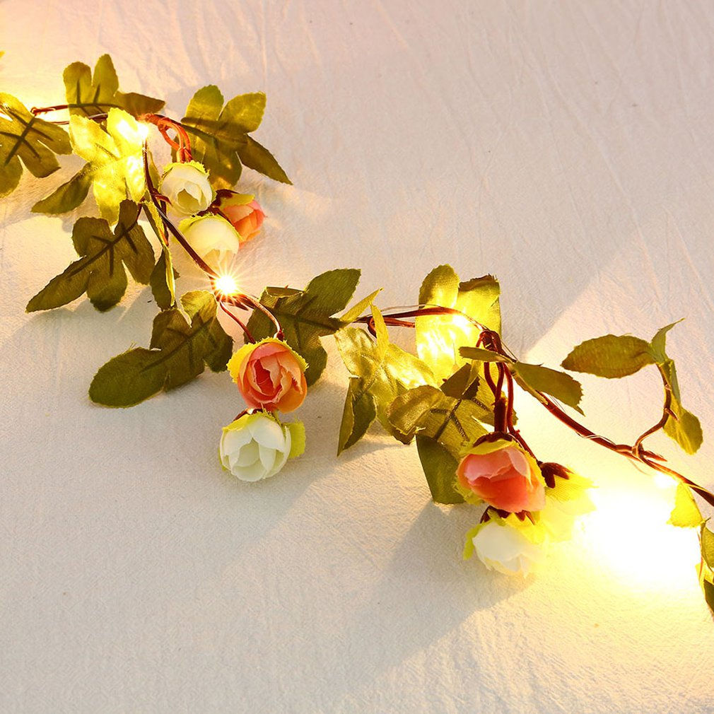 30Led Green Leaf Flower Home Decoration Lamp String Simulation Flower Decoration Rattan Lamp Color String