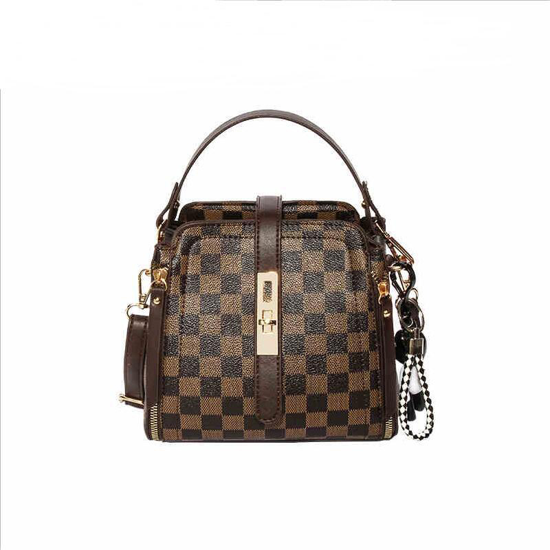Female Crossbody Bags Plaid Women PU Leather Handbag For Girl Ladies Vintage Fashion Casual Bucket Bag Shoulder Bags TBG459