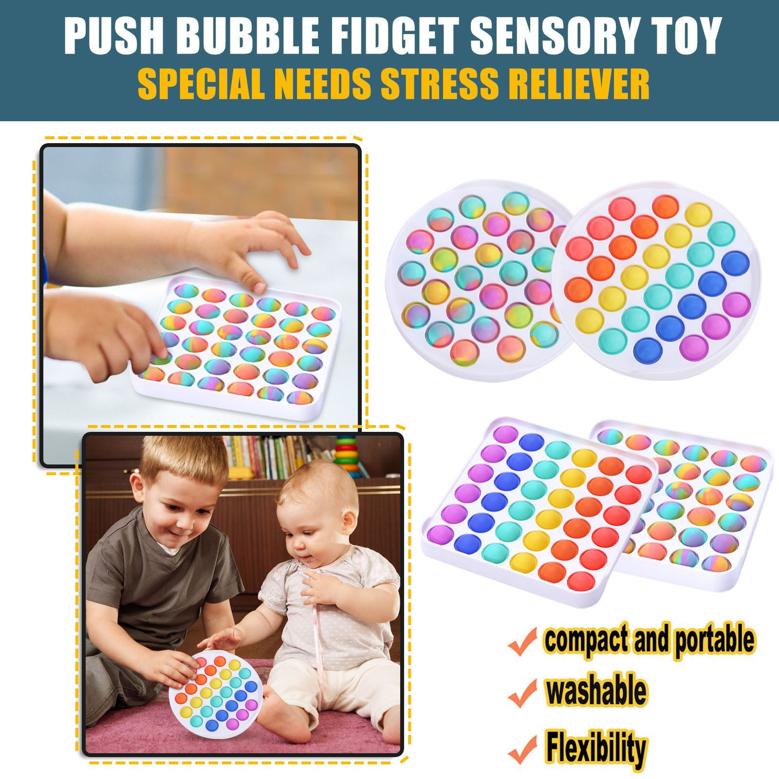 Funny Fidget Toys Simple Dimple Poppit Toy Bubble Sensory Toy For Adult Kids Stress Reliever Autism Gift ?????????? ???? Drop img2