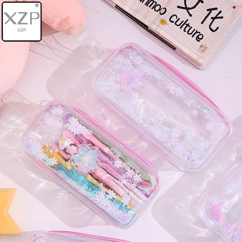 XZP 2019 Girl Pencil Case Transparent Oil Sandpaper Pen Bag Ins Style Cute Cosmetic Bag Wardrobe Organizer Travel Organizer Set