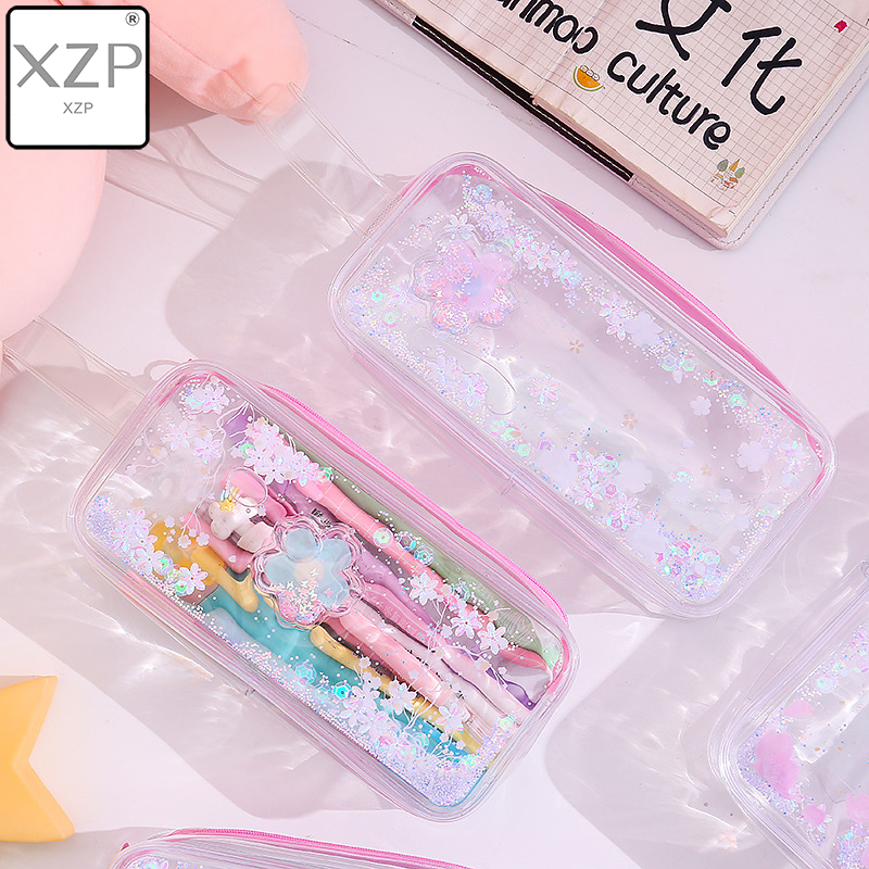 XZP 2019 Girl Pencil Case Transparent Oil Sandpaper Pen Bag Ins Style Cute Cosmetic Bag Wardrobe Organizer Travel Organizer Set image