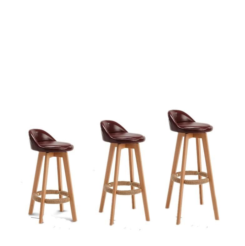 Bar Stool Solid Wood Bar Modern Minimalist  Chair High   Front Back