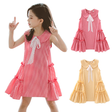 Summer Dress For Girls Cute Baby Girls Dress Sleeveless Plaid Print Lace Bowknot Tutu Dresses Kids Toddler Pageant Sundress 2015 summer new stylish kids toddler girls princess dress sleeveless polka dots bowknot dress top quality cute