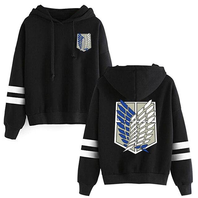 Attack on Titan Long Sleeved Striped Hooded Sweatshirt Pullover Tops Harajuku 5
