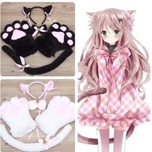 Anime Cosplay Costume Accessories Maid Cat claw Lolita Plush Glove Tail Paw Ear Set(China)