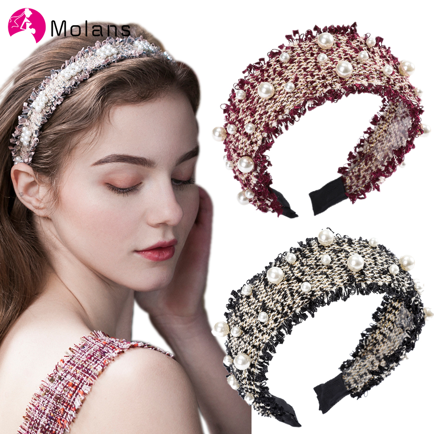 Molans Tweed Headband With Pearls Embellished Ultra Wide Hairbands For Women Stylish Fashion Hairband Boho Retro Headbands