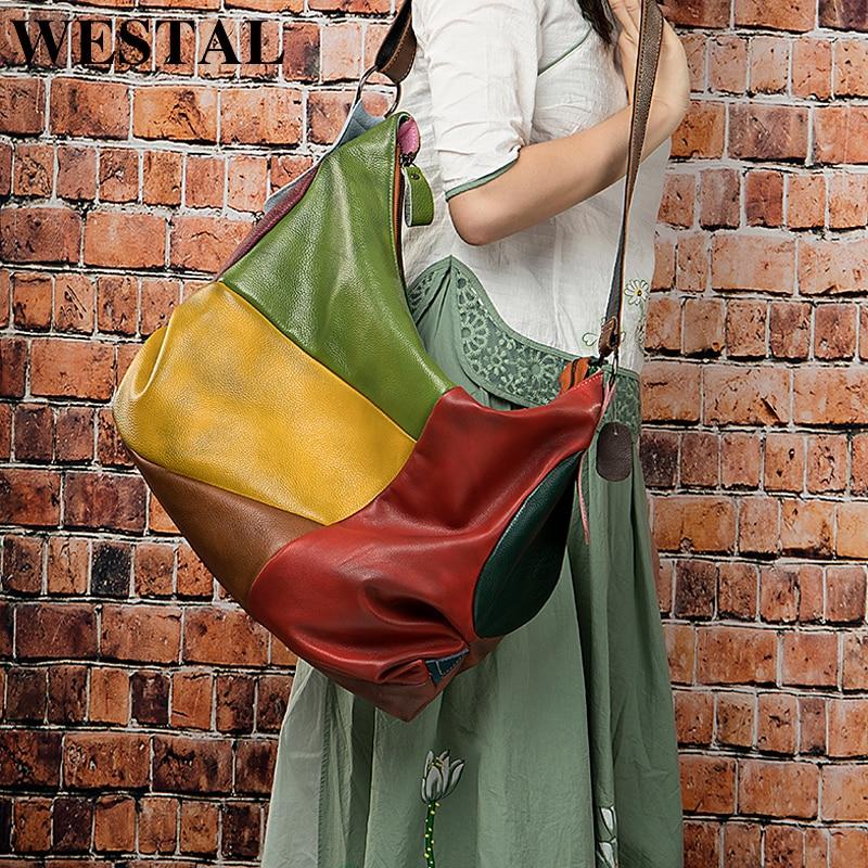 WESTAL sacs à main femme sac concepteur en cuir véritable sacs femmes dames sacs à main patchwork femmes sac à bandoulière en cuir totes 515