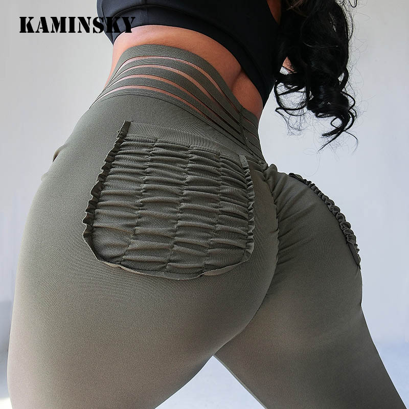 Kaminsky Women Push Up Leggings Femme Fitness Pant Legging With Pocket Solid High Waist Sportswear Breathable Patchwork Leggings
