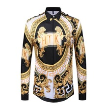 Men Gold Palace Floral 3D Print Shirts Man Hipster Luxury Dress Chemise Homme 2018 New Fashion Clothes camisa masculina