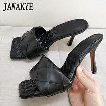 Кожаные туфли без задника телесного, черного цвета с плетеным узором; Дизайнерские шлепанцы с открытым квадратным носком на высоком каблуке; Летние праздничные туфли для женщинТапочки    АлиЭкспресс