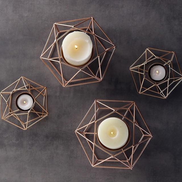 Bougeoir géométrique en fer 3D | Porte-bougie forgé de Style nordique, support de thé d'humeur, table de mariage Bougeoirs 🎁 Idées Cadeaux Cocooning.net
