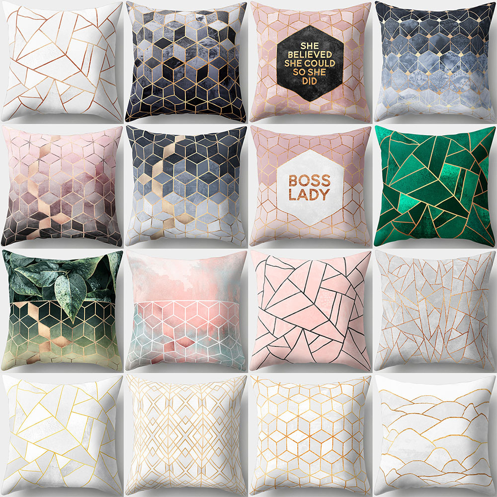 2020 New Modern Geometric Shape Green Leaf Soft Pillowcase Home Decoration Accessories Sofa Car Cushion Cover Decorative Pillow