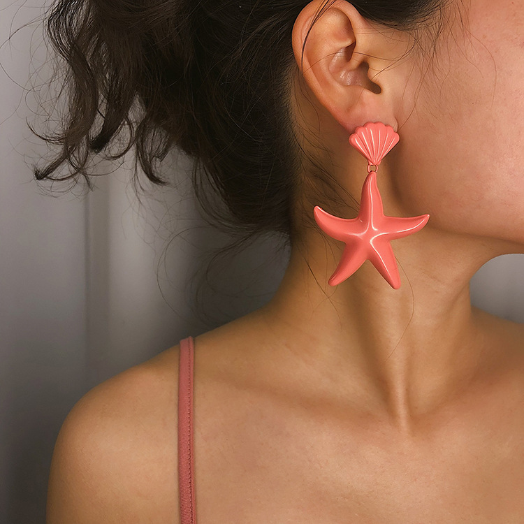 European and American jewelry colorful exaggerated star pendant earrings with national style shell starfish earrings for women
