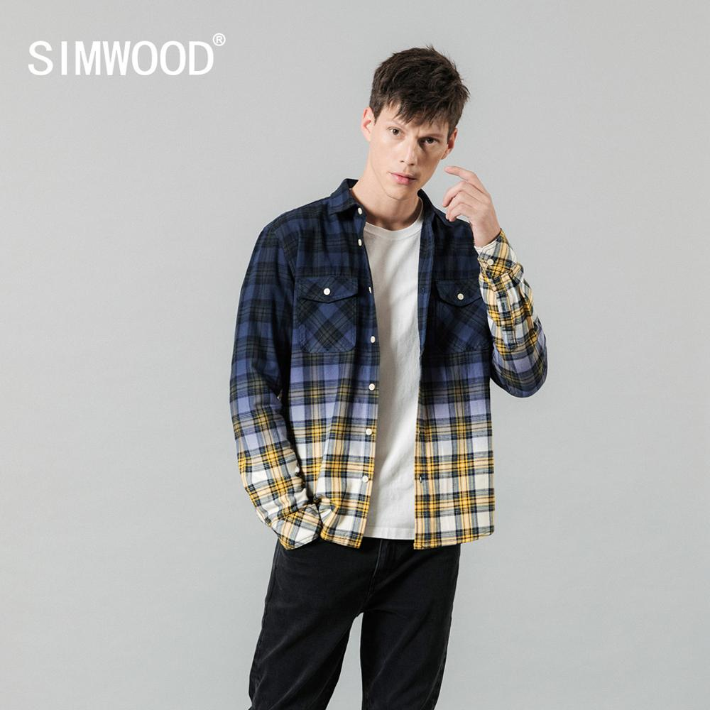 SIMWOOD 2019 Autumn New Shirts Men  Tie-dyed Plaid Contrast Color Fashion Slim Fit Cotton Shirt Plus Size Clothes SI980661