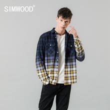 SIMWOOD 2020 spring new shirts men  tie dyed plaid contrast color fashion slim fit cotton shirt plus size clothes SI980661