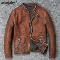YOLANFAIRY Geniune Leather Jacket Men Vintage Cow Leather Coat Jaqueta Masculina Spring Autumn Plus Size Jaqueta Couro 681 MF110