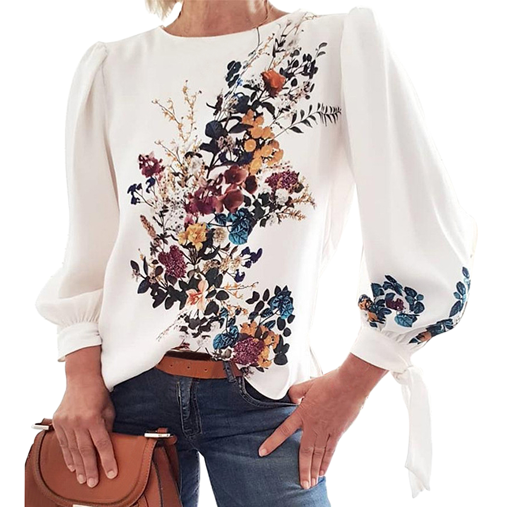 2020 Fashion Women Flora Printed Long Sleeve Loose Style Pullover Blouses Chic Casual Spring Fall Fashion New Trends Top Shirts