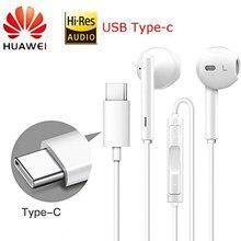 Huawei fone de ouvido cm33 usb tipo-c no ouvido com fio microfone controle de volume fone de ouvido para huawei companheiro 10 pro p20 por p30 pro