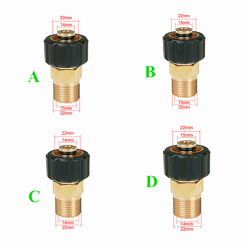 Brass 14mm Thread Fitting Hose Connector Adapter Swivel Joint Pressure Washer