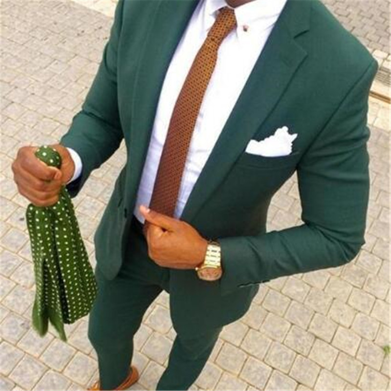 Retro Dark Green Wedding Tuxedos Slim Fitted 2020 Formal Casual Party Suits Dinner Wear For Men Countryside (Jacket+Pant)