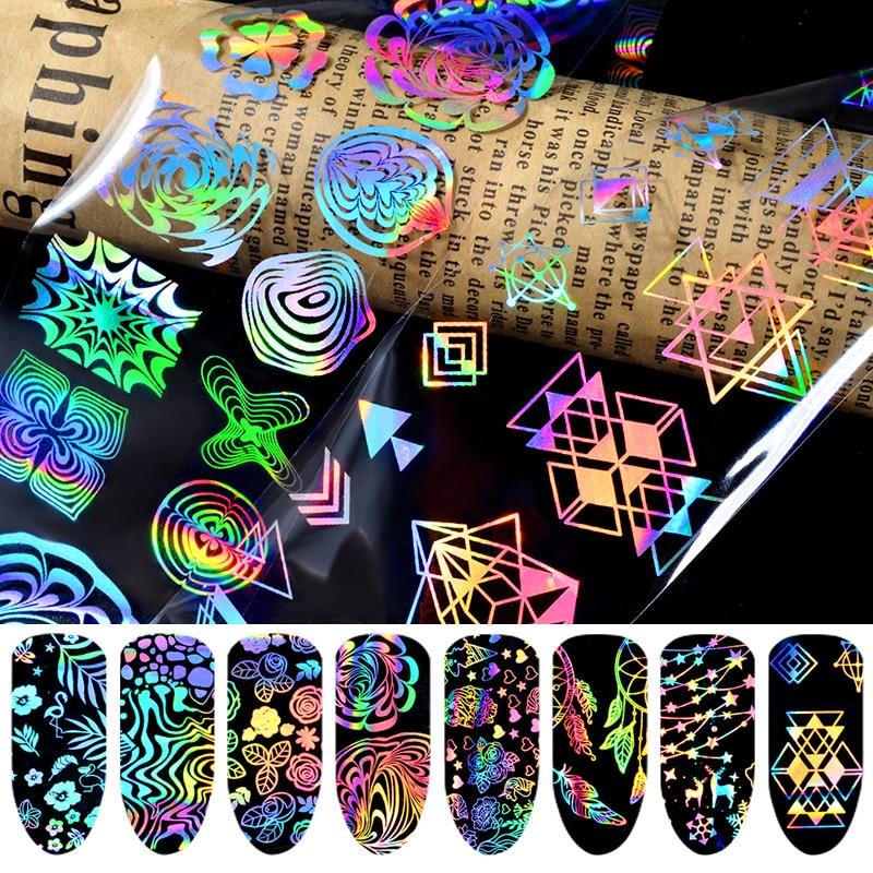 Цветная Голографическая фольга для ногтей Dazzle, лазерный фейерверк, волнистая треугольная переводная наклейка, украшение для маникюра и диз...