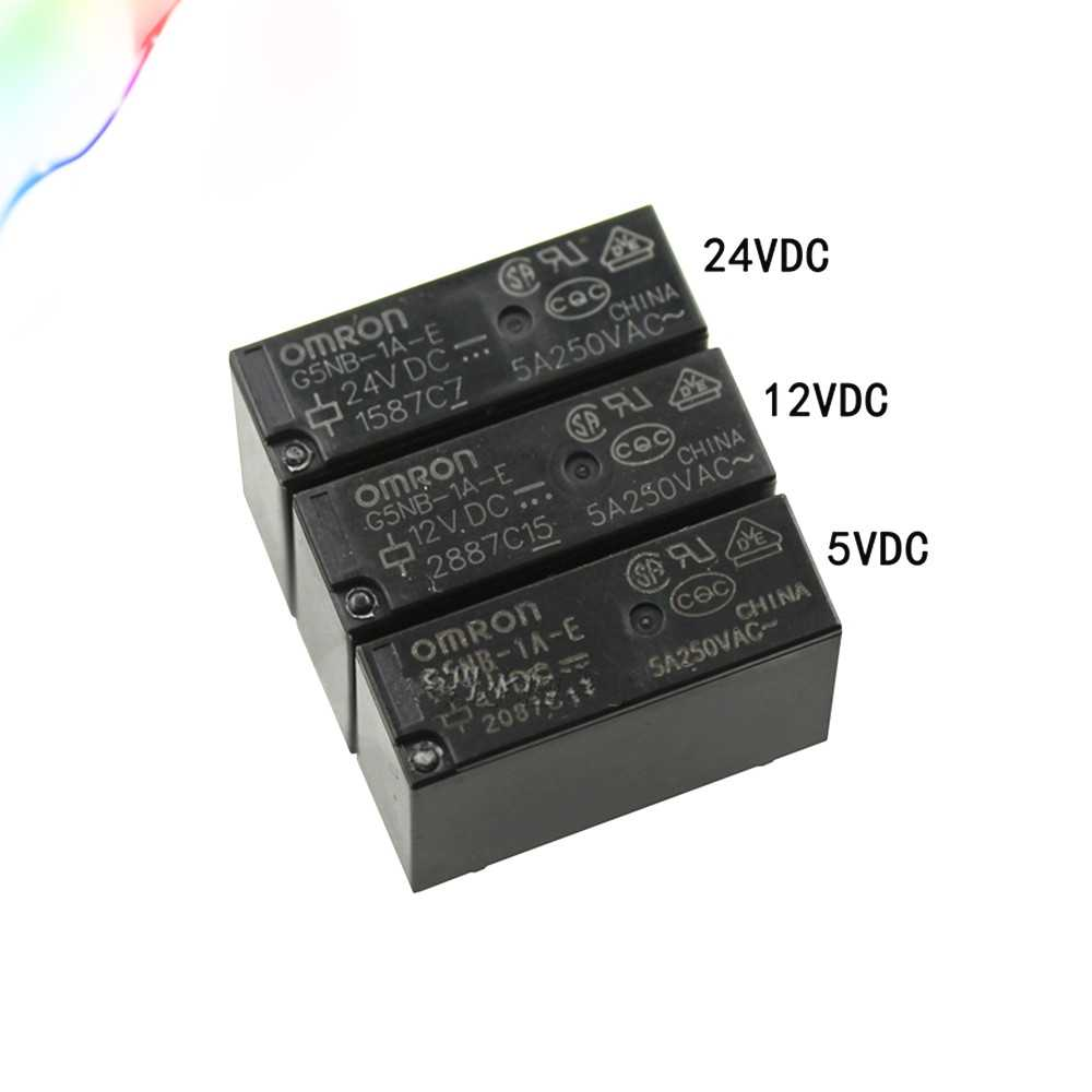 5PCS 5V 12V 24V Power Relais G5NB-1A-E-5VDC 12VDC 24VDC 5A 250VAC 4PIN