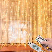 3x3M Usb LED Curtain String Light Remote Control Christmas Fairy Lights Cope Wire Garland Outdoor Home Room Wedding Party Decor