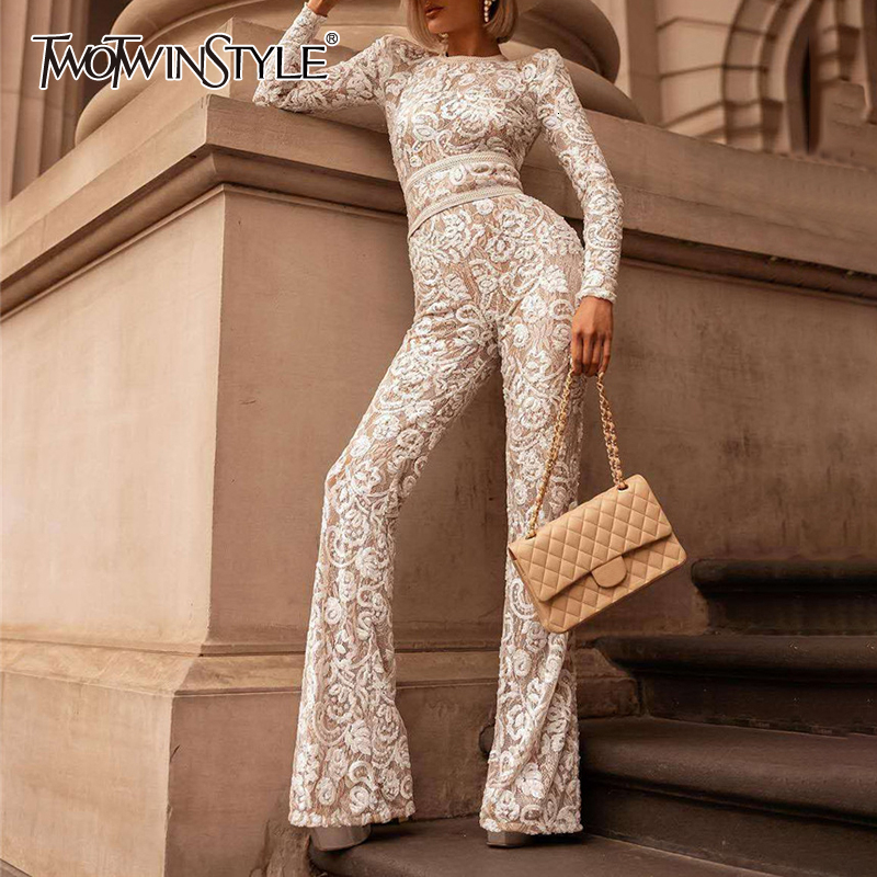 TWOTWINSTYLE White Patchwork Lace Women's Jumpsuits O Neck Long Sleeve High Waist Female Jumpsuit 2019 Autumn Fashion New