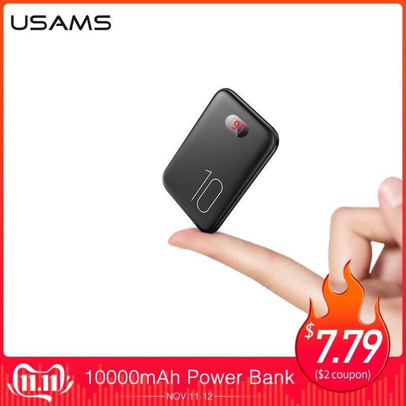 Power Bank für xiaomi mi iPhone, USAMS mi ni Pover Bank 10000mAh Led-anzeige Power Externe Batterie Poverbank Schnelle lade