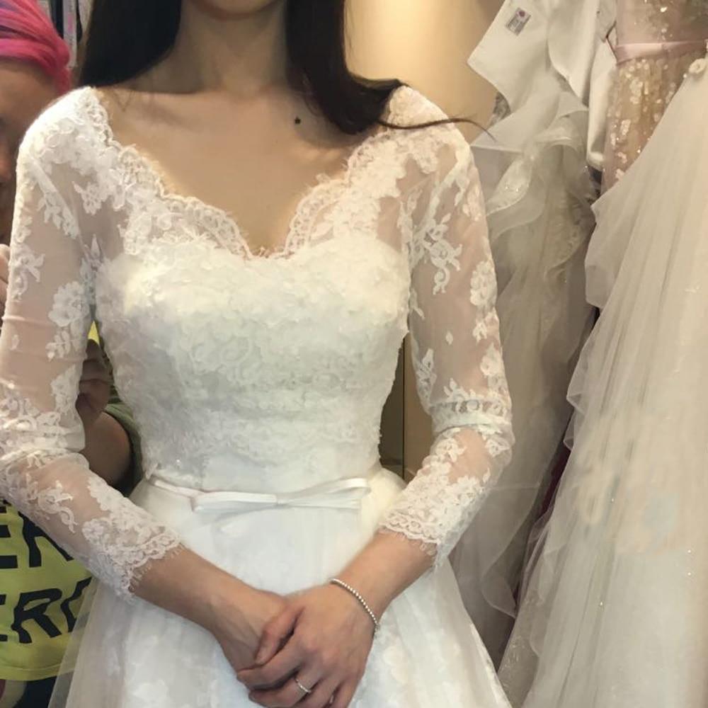 Wedding Bolero 3/4 Long Sleeve V Neck Lace Bridal Wraps For Wedding Party Prom Cheap White Lace Jacket Bolero Shrug