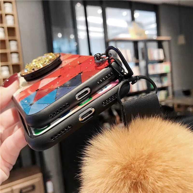 Note10Plus גליטר DIY פרווה שיער כדור + קריסטל סוגר + רצועת טלפון מקרה עבור סמסונג Note10 9 8 S10 S9 s8 בתוספת גיאומטרי כיסוי קאפה