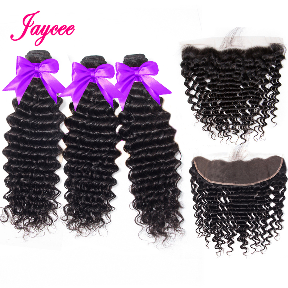 Peruvian Deep Wave With Frontal Ear To Ear Lace Frontal Closure With Bundles 3 Bundles With Frontal With Bundles Human Hair