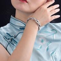 Xiyanike 925 sterling silver retro three-strand twist bracelet light luxury all-match elegant couple jewelry adjustable opening